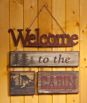 Welcome friends, family and guests into your space with this inviting sign. Crafted of wood, metal and paper. Dimensions: 20L x 10H. - $15.99