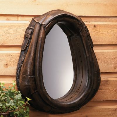 Entertainment A high-quality resin replica, this rustic horse collar with an inlaid mirror is a perfect accent to country dcor. Lighter than the original leather version, this is easy to mount and comes with instructions. Dimensions: 24H x 21W x 6D. Weight: 9 lbs. - $149.99