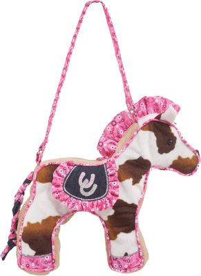 Entertainment Created in the shape of various cute, lovable animals, these kids Plush Purses are the perfect tag-along pals for the littlest lady in your house. Durable and made with trendy patterned and embellished fabrics, they feature a sturdy carry strap and plastic zipper closure. 100% polyester. Each purse is 10 wide. Imported. Available: Daisy Elephant- Flower print and pink. Rodeo Pink Horse Cow print with pink ruffles. Filly Horse Printed horse and lilac gingham. Hip Happy Chihuahua Pink/Black. Clara Dog Flower print and pink. Girls Rock Butterfly Flower print and pink. Color: Black. - $24.99