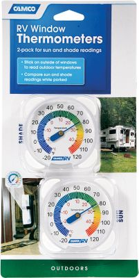 Mount these 3, easy-to-read thermometers on the exterior of your RVs windowpanes. Placed on each side of your vehicle, theyll give you temperature readings in the sun and shade. Per 2. Type: RV Maintenance. - $4.88