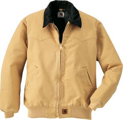 Hunting Carhartts Mens Santa Fe Jacket is crafted in a traditional Santa Fe style with shaped front and back Western yokes, a corduroy collar top and a soft quilted-flannel lining. It shucks off abuse with a 12-oz. 100% cotton sandstone duck shell. Tight plied-yarn construction bolsters durability, and the fabric is microsanded and garment-washed to create a broken-in texture. The sleeve interior is smooth nylon for free movement and easy on and off. This jacket also has rib-knit cuffs and waistband, along with two slash handwarmer pockets. It has a work fit to give you extra mobility. And the full-zip front has an interior storm flap. Imported. Tall sizes: L-4XL. Colors: Moss, Black, Dark Brown. Carhartt style No.: J14 Size: LARGE. Color: Moss. Gender: Male. Age Group: Adult. Material: Corduroy. - $59.99