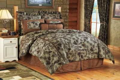 Entertainment Bring the outdoors in with this plush pine-cone bedding set. Its unique pine-cone and plaid pattern scheme goes well with any outdoor dcor. Warm hues contrasted against cooler green tones closely mimics nature. 100% polyester shell and fill for added warmth and durability. Imported. Includes: Comforter, bed skirt, two Euro shams (one with Twin set), two standard shams (one with Twin set) and one 14 x 26 pillow. Sizes: Twin (67 x 89) Full/Queen (88 x 94) King (104 x 94) Size: QUEEN. Color: Moss. Type: Bedding Sets. - $299.99
