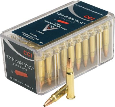 Varmint hunters looking for an expansive and accurate cartridge have a new choice with premium ammunition from CCI. All deliver the hard-hitting and deadly accuracy varmint hunters need. They have CCIs renowned rimfire priming, and you can always count on a clean ignition even under the toughest conditions. Per box, 50 rounds. Made in USA. Available: The .17 HMR 17-grain Speer TNT Hollow Point has a 2,525-fps muzzle velocity and delivers about 179 pounds of energy at 50 yds. The .17 HMR 17-grain V-Max has a 2,550-fps muzzle velocity and delivers about 185 pounds of energy at 50 yds. The .17 HMR 20-grain Gamepoint has a 2,375-fps muzzle velocity and delivers about 193 pounds of energy at the muzzle. Type: Rimfire. - $12.99