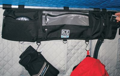 Fishing Attaches to the rear pole of all flip-style shelters. Plenty of zip-close pockets hold your fishing essentials. 100% nylon. Imported. Sizes: Small (28L x 7-3/4H) Large (45L x 7-3/4H). Size: Small. - $19.99