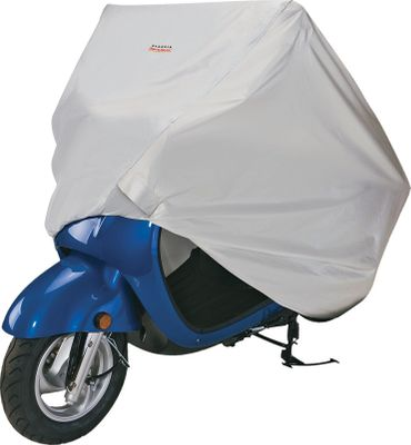 "Entertainment This Scooter Cover protects against rain, dirt, UV rays and pollution. Strong Silver-tech fabric packs down for easy travel, and resists fading. Metallic heat-shield panels protect against hot pipes. Elasticized bottom hem. Two elastic tie-down cords hold the cover tight across the bottom. Fits in the included ""Never-Lose-It"" storage bag with attached strap. Lockable bottom. One-year warranty. Imported.Available:Small: 72""L x 36""W x 51""H.Large: 94""L x 38""W x 68""H. - $34.99"