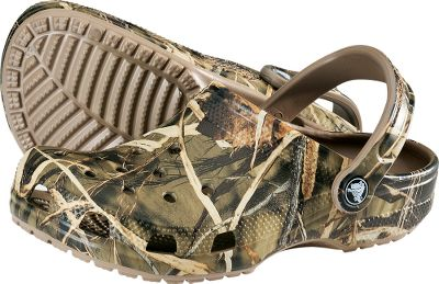 Hunting Croslite material in stylized clogs with integrated ventilation ports keep feet cool when the heat kicks in. Footbeds conform to feet for a customized fit. Crocs straps keep them secure. Slip-resistant and nonmarking outsoles. Imported. Mens whole sizes: 8-13. Camo pattern: Realtree. Size: 10. Color: Camo. Gender: Male. Age Group: Adult. Pattern: Camo. Type: Shoes. - $29.99