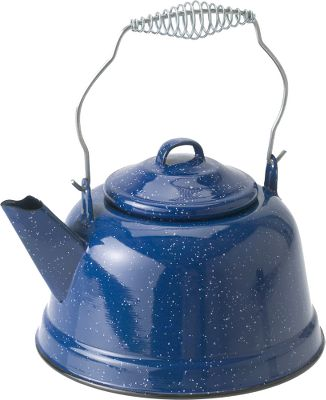 Camp and Hike Enamelware Tea Kettles look great in any campsite. The durable enamel finish washes easily and provides years of reliable, lasting service. Perfect for heating water over the fire, on the grill or on the camp stove. Capacity: 80 oz. Color: Blue Color: Blue. Type: Kettles. - $24.99