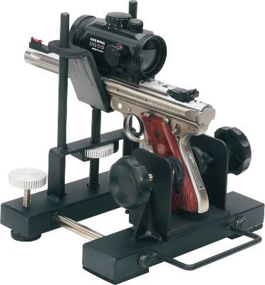 A sight-in session with this Pistol Rest will have you punching holes through the 10-ring in no time. Adjustable to accommodate any length of modern handgun, the ambidextrous vise snugly holds your firearm. Foam-padded feet stabilize the rest, and additional foam cradles your gun. The precision elevation adjustment moves groups just as much or as little as you need. The integrated carry handle makes toting the rest to the bench a snap. Type: Rests. - $59.99