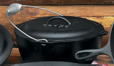 Roasts, stews, whole chickens and a myriad of other foods can be made to perfection whether you're outdoors or in the kitchen with these classic Dutch ovens. Through a special ultrahigh temperature curing process at the foundry, these Dutch ovens are given a special black patina finish. Pre-seasoned and ready to use. Sizes: 5-quart (10-1/4 dia., 4 depth, 14 lbs.) 7-quart (12 dia., 4-3/4 depth, 19 lbs.) Color: Black. Type: Dutch Ovens. - $44.99