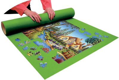 Entertainment When its dinnertime and the jigsaw puzzle on the table isnt done, this handy roll-up mat will save the day. Simply place the mat on the working surface before starting to assemble your puzzle, and none of the hard work will be lost when you have to move it as it all rolls up conveniently, holding every piece in place. Cardboard storage tube makes it easy to store or transport puzzles completed or waiting to be finished. Measures 30 x 36, accommodates most puzzles up to 1,000 pieces. Made in USA. Type: Puzzles. - $9.99