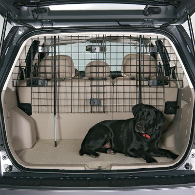 Hunting The versatile design of this Wire Mesh Pet Barrier adjusts to fit minivans, SUVs, wagons and crossover vehicles so your pet stays safely in the back. It adjusts from 31 -70 W and 31 -50 H. It's easy to install and remove with rubber mounting points to protect the interior of your vehicle. - $84.99