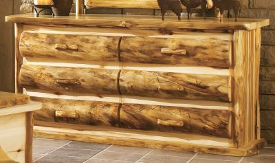 Entertainment This large 72 6-drawer dresser is the perfect piece of furniture for any cabin or home. Handcrafted dresser bears natures own markings, so no two are exactly alike. Plus, theyre hand-sanded, kiln-dried and finished with a protective layer of beeswax, linseed oil and other organic materials. Coated with an extra layer of waterproof polyurethane, the dresser top is protected against warping should it get wet. Assembly is required. Mirror sold separately. Made in USA. Dimensions: 72 x 21 x 36. Available: Flat Drawer Fronts, Rounded Half-Log Fronts*. * = Quickship item. (Quick Ship items will be delivered within 3-5 weeks upon receipt of order.) Note:Dimensions are approximate due to slight inherent variations in lumber. Type: Dressers. - $1,899.99