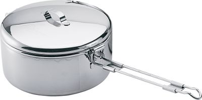 Camp and Hike The durable stainless steel pots will withstand bumpy trails and hard use. Ideal for the budget-conscious traveler looking for versatile, lightweight cookware. Hinged, easy-lift handle flips over the fitted lid to lock it in place. Scratch- and dent-resistant. Per each. Imported. Available: 1.6-Liter Pot Weight: 1 lb. 3.5 oz. 775-Milliliter Pot Weight: 13 oz. Color: Gray. Type: Pots. - $17.99