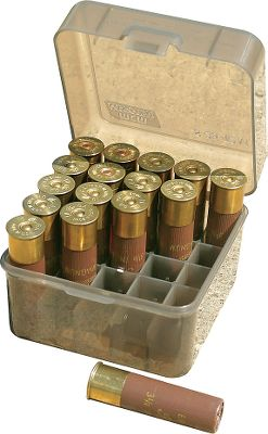 This 25-round Shotshell Box holds a full box of shotshells in down position, 2-3/4 to 3-1/2. Virtually indestructible polypropylene plastic construction. Living hinge design with snap lock latch. Color: Smoke. Type: Shotshell. - $3.99