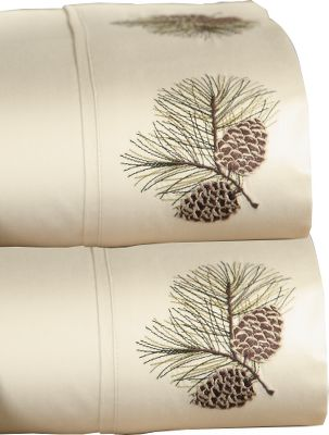 Entertainment A comfortable nights sleep is never far away when youre surrounded by the pleasing softness of these 400-thread-count cotton sateen sheets. Flat sheet and pillowcase feature 4 hem pine cone embroidery. Includes flat sheet, fitted sheet, and two pillowcases (twin includes one pillowcase). Imported. Sheet sizes: Twin Flat (66 x 96), Fitted (39 x 75 x 15), Pillowcase (21 x 30) Full Flat (81 x 96), Fitted (54 x 75 x 15), Pillowcase (21 x 30) Queen Flat (90 x 102), Fitted (60 x 80 x 15), Pillowcase (21 x 30) King Flat (108 x 102), Fitted (78 x 80 x 15), Pillowcase (21 x 40) Colors: Ivory, Khaki. Size: FULL. Color: Ivory. - $79.99