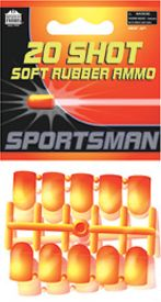 Guns and Military This airsoft ammo pack includes 20 rubber shots. For use with the Airsoft Sportsman .44 Magnum, 8-Shot Rifle, Shotgun, and Hawken Rifle. Type: Toy Ammo. - $2.99