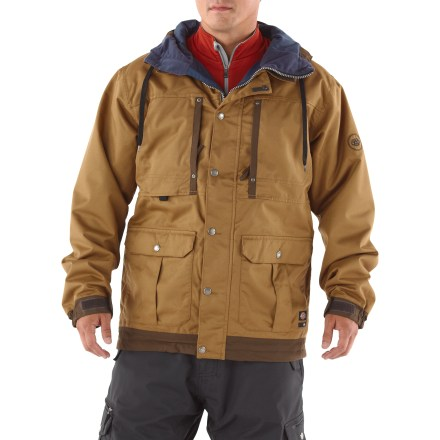 Ski The work-wear inspired 686 Times Dickies Industrial insulated jacket brings your favorite urban style to the slopes. Featuring contrast panels at the hood, cuffs and hem, and a work-jacket inspired look, this jacket is sure to please the most style-conscious riders. Durable polyester fabric features INFIDRY-15(TM) waterproof breathable coating for superior wind and water protection; fully taped seams. Light insulations in the body, sleeves and hood keeps you warm without bulk, and continues to insulate when wet. Smooth lining easily slides over base layers. Full-length, 2-way front zipper is covered with a stormflap; snap closures secure the stormflap to keep the wind at bay. Hood features drawstring ties for a secure fit. Zippered underarm vents feature mesh gussets for quick ventilation. Adjustable powder skirt helps seal out cold air and wet snow while retaining valuable warmth; pant-to-jacket connection tabs work with compatible 686 pants. Powder skirt features a grommet for attaching lift ticket. 686 Times Dickies Rancher Insulated jacket features an internal audio pocket, internal mesh pocket, hidden ID stash pocket, left chest pocket and handwarmer pockets. - $119.83