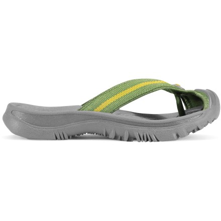 Entertainment The super comfy Keen Waimea H2 flip-flops for bigger kids go from land to water so young adventurers won't miss a step. Polyester webbing uppers excel in wet conditions. EVA footbeds are shaped to provide ample cushioning and arch support. EVA midsoles offer rich shock absorption and padding for all-day wear. Patented rubber Toe Guards protect feet from scuffs, bumps and uneven terrain. Nonmarking carbon rubber outsoles offer durability and superb traction. Closeout. - $16.73