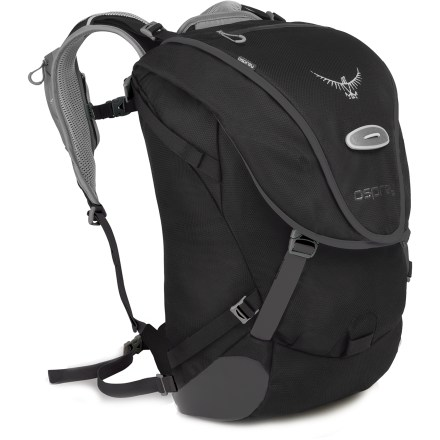 Fitness Sized just right for your commuting needs, the Osprey Metron 25 pack makes it easy to transport your everyday stuff, whether by bicycle, train, bus, vanpool or other means. Main compartment features a padded laptop compartment to help protect your computer (accepts most laptops up to 15 in.). Dedicated U-lock pocket, top slash pocket, and front panel pocket with organizer panel make organizing and accessing your stuff an easy endeavor. Left shoulder strap features a large, zippered pocket for stashing a cell phone or media player. Quickly attach a helmet to the pack with the LidLock(TM) helmet clip; a bungee on the exterior of the pack allows easy adjustment of the LidLock feature. Integrated and removable high-visibility raincover can be deployed quickly and easily to protect pack's contents in case of inclement weather. Osprey Metron 25 commuter pack has an attachment point for LED safety light (sold separately). - $103.93