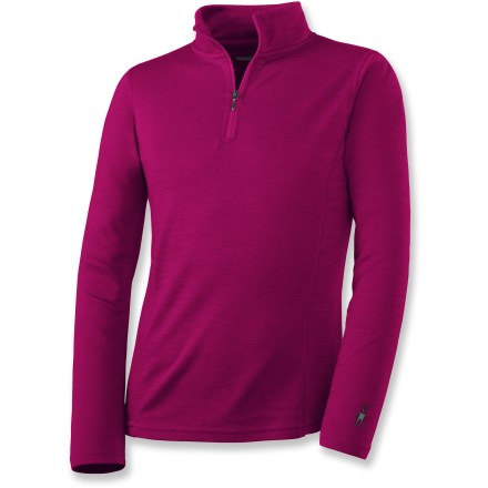 This SmartWool midweight long underwear zip-neck top for girls offers natural stretch and breathability for stop-and-go activities or when temperatures fluctuate. - $14.83