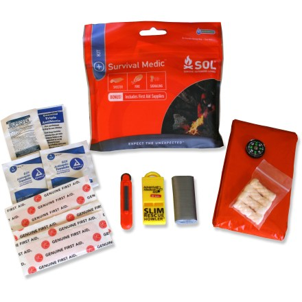 Camp and Hike The SOL Survival Medic kit contains survival and first-aid essentials in an ultralight waterproof pouch that is small enough to take on any trip. - $14.95